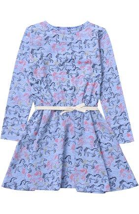 Детское хлопковое платье с принтом Egg By Susan Lazar голубого цвета | Фото №1