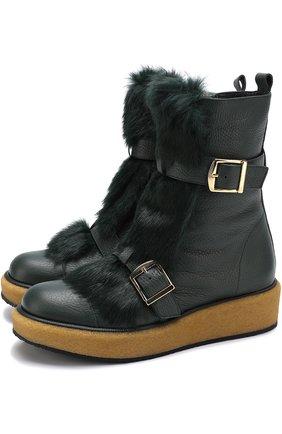 Кожаные ботинки с отделкой из меха кролика Paloma Barcelo темно-зеленые | Фото №1