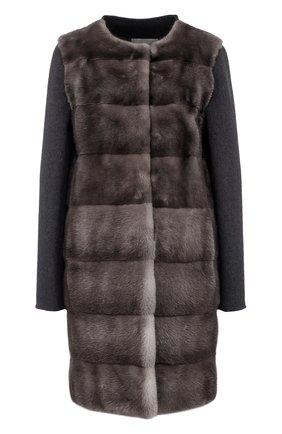 Пальто из смеси шерсти и кашемира с отделкой из меха норки | Фото №1
