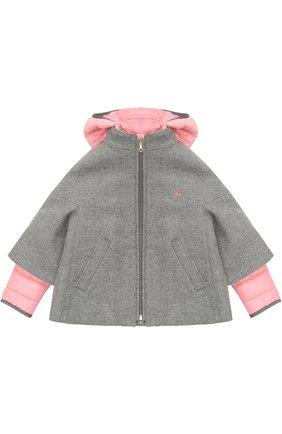 Детское укороченное пальто со стегаными рукавами и капюшоном FAY JUNIOR серого цвета, арт. NBP05358110 | Фото 1