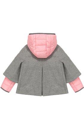 Детское укороченное пальто со стегаными рукавами и капюшоном FAY JUNIOR серого цвета, арт. NBP05358110 | Фото 2