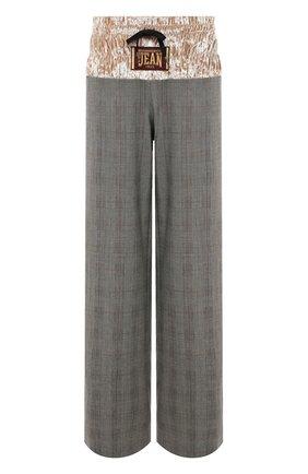 Шерстяные брюки в клетку с бархатной вставкой Stella Jean серые | Фото №1