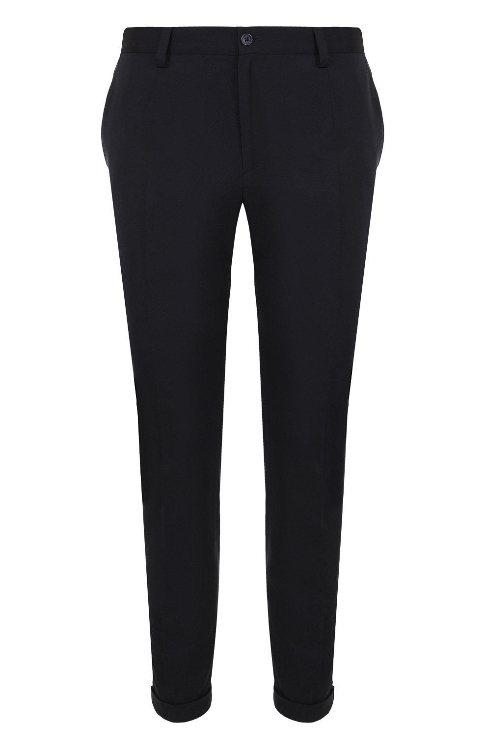 Укороченные брюки прямого кроя из смеси шерсти и хлопка | Фото №1