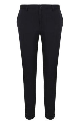 Укороченные брюки прямого кроя из смеси шерсти и хлопка Dolce & Gabbana темно-синие | Фото №1