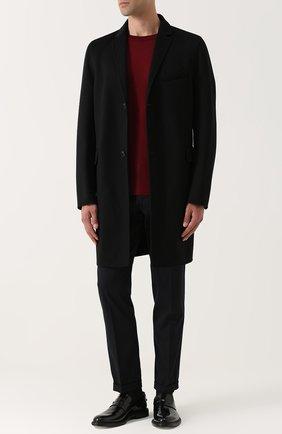 Укороченные брюки прямого кроя из смеси шерсти и хлопка Dolce & Gabbana темно-синие | Фото №2