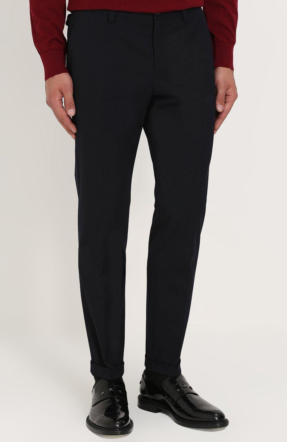 Укороченные брюки прямого кроя из смеси шерсти и хлопка Dolce & Gabbana темно-синие | Фото №3