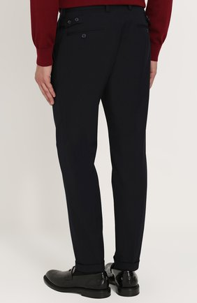 Укороченные брюки прямого кроя из смеси шерсти и хлопка Dolce & Gabbana темно-синие | Фото №4