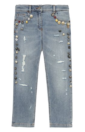 Детские джинсы прямого кроя с декоративной отделкой Dolce & Gabbana голубого цвета | Фото №1