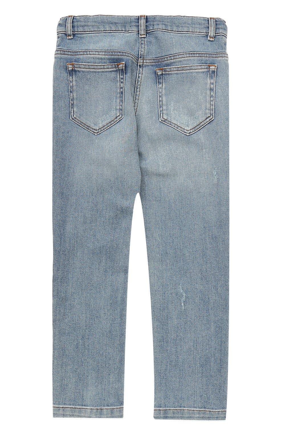 Детские джинсы прямого кроя с декоративной отделкой Dolce & Gabbana голубого цвета | Фото №2