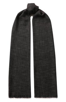 Мужской шарф brina из смеси кашемира и шелка с необработанным краем LORO PIANA темно-серого цвета, арт. FAF8678 | Фото 1