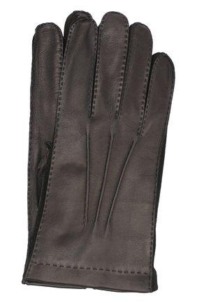 Мужские кожаные перчатки с подкладкой из смеси кашемира и шелка LORO PIANA черного цвета, арт. FAF4256 | Фото 1