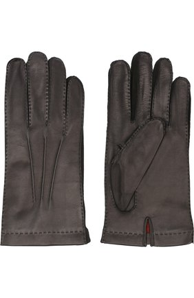 Мужские кожаные перчатки с подкладкой из смеси кашемира и шелка LORO PIANA черного цвета, арт. FAF4256 | Фото 2
