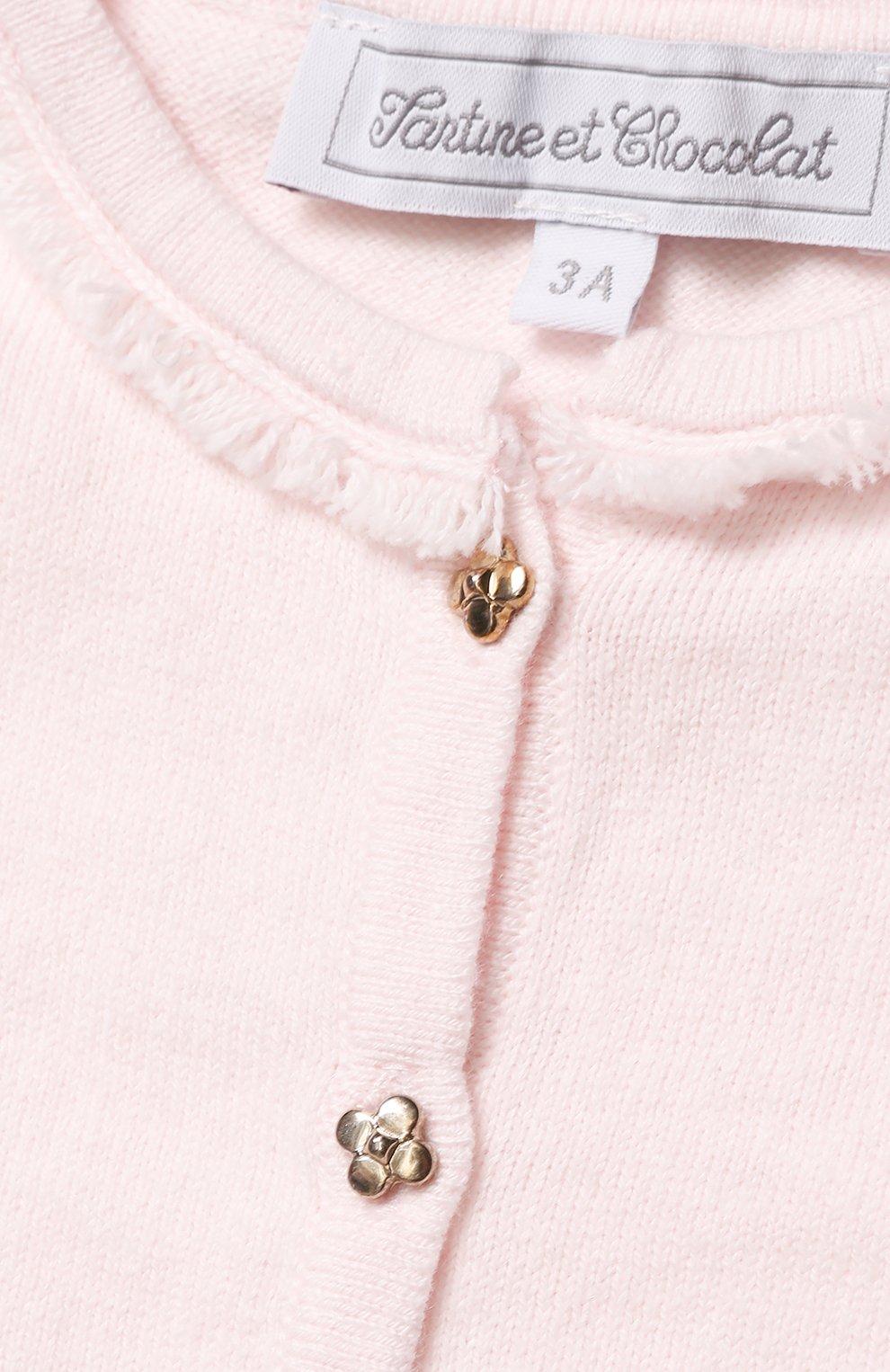 Детский кардиган из смеси хлопка и кашемира TARTINE ET CHOCOLAT розового цвета, арт. TK18011/2A-3A   Фото 3 (Рукава: Длинные; Материал внешний: Хлопок; Статус проверки: Проверено)