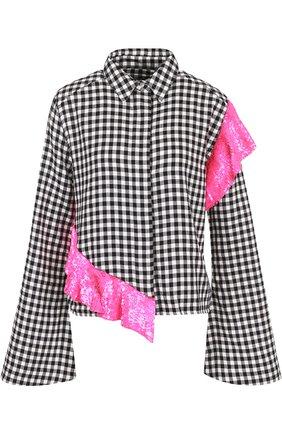 Блуза в клетку с декорированной оборкой | Фото №1