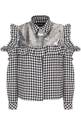 Блуза в клетку с пайетками и открытыми плечами | Фото №1