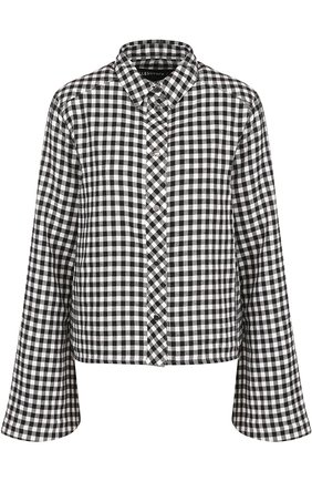 Блуза в клетку с расклешенными рукавами | Фото №1