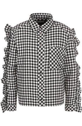 Блуза в клетку с пайетками и оборками | Фото №1