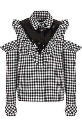 Блуза в клетку с открытыми плечами и пайетками | Фото №1