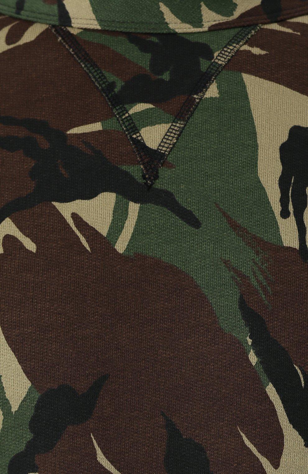 Хлопковый свитшот с камуфляжным принтом | Фото №5
