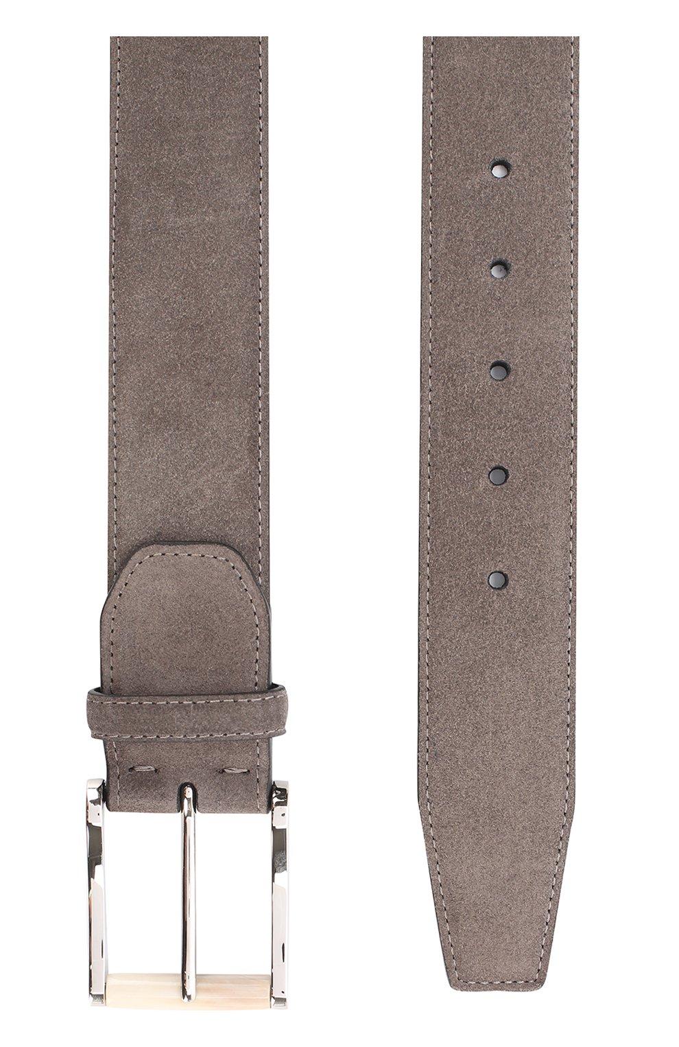 Мужской замшевый ремень  KITON серого цвета, арт. USC22CCN00113 | Фото 2