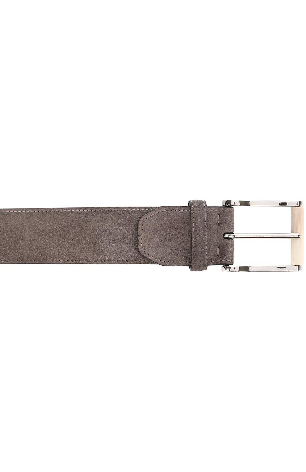 Мужской замшевый ремень  KITON серого цвета, арт. USC22CCN00113 | Фото 3