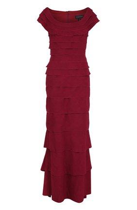 Платье-макси с круглым вырезом и оборками Tadashi Shoji бордовое | Фото №1