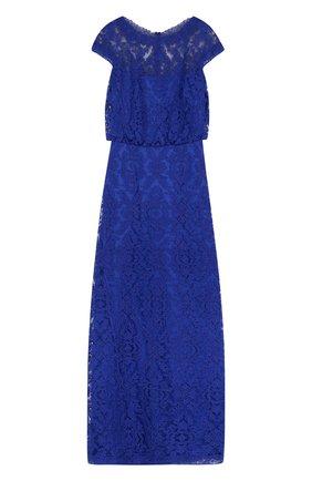 Приталенное кружевное платье-макси Tadashi Shoji синее | Фото №1