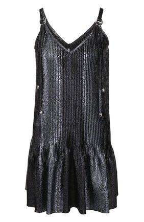Мини-платье с V-образным вырезом и металлизированной нитью | Фото №1