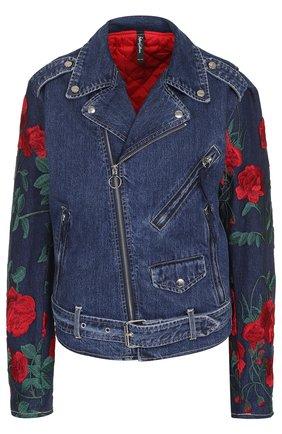 Джинсовая куртка с косой молнией и вышивкой | Фото №1