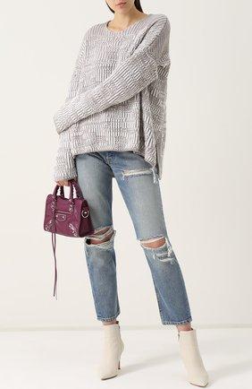 Укороченные джинсы прямого кроя с потертостями GRLFRND синие | Фото №1
