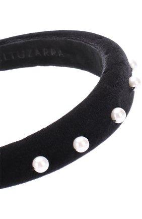 Бархатный ободок с отделкой из жемчужин Altuzarra черного цвета   Фото №1