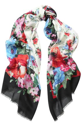 Шарф с цветочным принтом Dolce & Gabbana белый   Фото №1