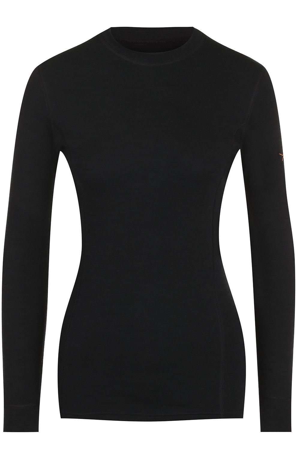 Женская шерстяной лонгслив с круглым вырезом NORVEG черного цвета, арт. 3L1RLRU   Фото 1