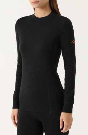 Женская шерстяной лонгслив с круглым вырезом NORVEG черного цвета, арт. 3L1RLRU   Фото 3
