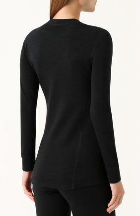 Женская шерстяной лонгслив с круглым вырезом NORVEG черного цвета, арт. 3L1RLRU   Фото 4