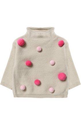 Шерстяной пуловер с помпонами   Фото №1