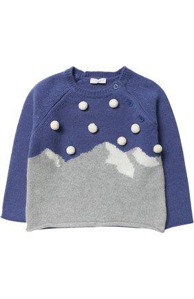 Детский шерстяной пуловер с помпонами IL GUFO синего цвета, арт. A17MA222EM220/12M-18M | Фото 1