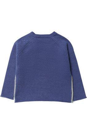 Детский шерстяной пуловер с помпонами IL GUFO синего цвета, арт. A17MA222EM220/12M-18M | Фото 2