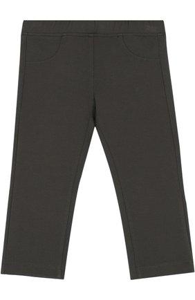 Детские брюки джерси прямого кроя IL GUFO хаки цвета, арт. A17PL202M0041/3M-9M   Фото 1