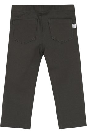 Детские брюки джерси прямого кроя IL GUFO хаки цвета, арт. A17PL202M0041/3M-9M   Фото 2