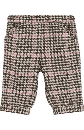 Детские брюки прямого кроя с контрастной отделкой IL GUFO хаки цвета, арт. A17PN019W3032/12M-18M   Фото 1