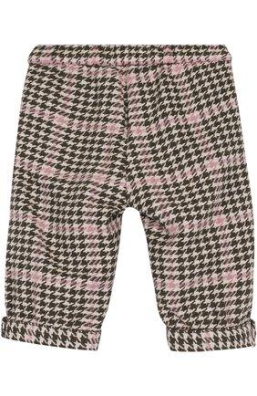 Детские брюки прямого кроя с контрастной отделкой IL GUFO хаки цвета, арт. A17PN019W3032/12M-18M   Фото 2