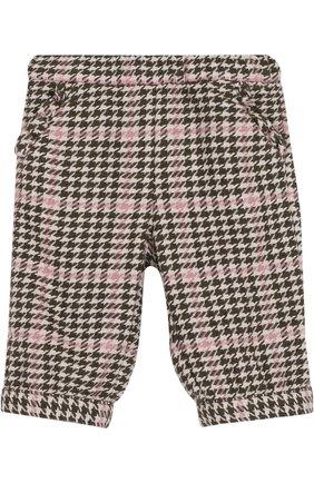 Детские брюки прямого кроя с контрастной отделкой IL GUFO хаки цвета, арт. A17PN019W3032/3M-9M   Фото 1