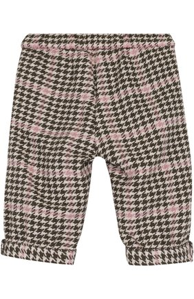 Детские брюки прямого кроя с контрастной отделкой IL GUFO хаки цвета, арт. A17PN019W3032/3M-9M   Фото 2