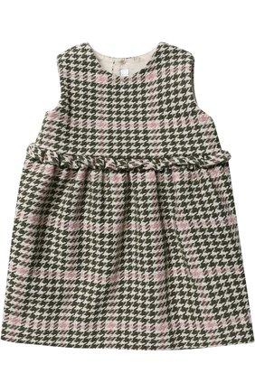 Женский платье без рукавов с контрастной отделкой IL GUFO хаки цвета, арт. A17SC052W3032/3M-9M   Фото 1