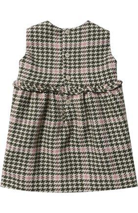 Женский платье без рукавов с контрастной отделкой IL GUFO хаки цвета, арт. A17SC052W3032/3M-9M   Фото 2