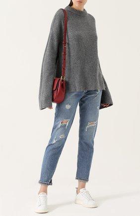 Кашемировый свитер фактурной вязки Le Kasha серый   Фото №1