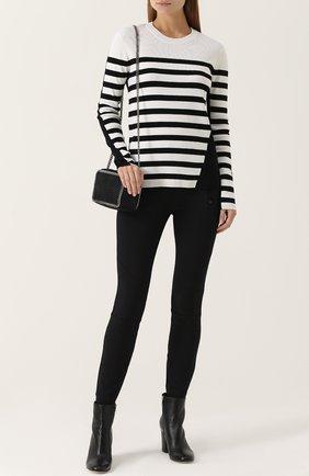 Шерстяной пуловер в полоску Rag&Bone черно-белый | Фото №1