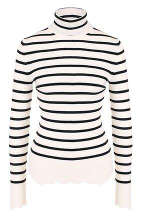 Шерстяной облегающий свитер в полоску   Фото №1