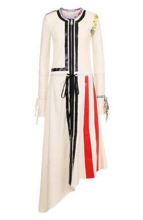 Платье-миди асимметричного кроя с контрастной отделкой J.W. Anderson кремовое   Фото №1
